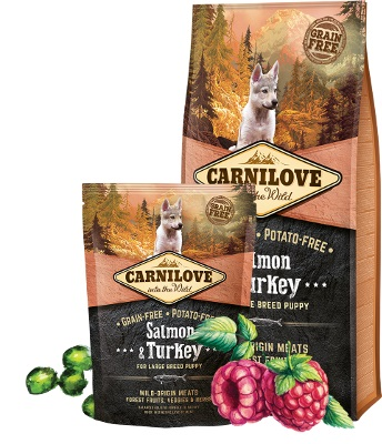 carnilove τροφη για κουταβια και νεαρους σκυλους salmon & turkey grain free - ολιστικη τροφη