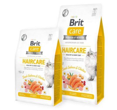 Brit Care Haircare superpremium υποαλλεργικη τροφη γατας προσφέρει ιδιαίτερη φροντίδα για λαμπερο τριχωμα