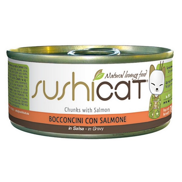 Sushicat κονσερβα για γατα με κομματια σολομου σε σαλτσα