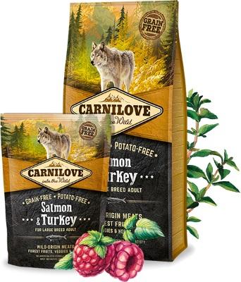 ολιστικη τροφη Carnilove σκυλων Grain Free salmon Turkey με σολομο και γαλοπουλα για σκυλους μεγαλης φυλης