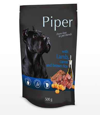 Piper υγρη τροφη - κονσερβα για σκυλους με αρνι καροτο καστανο ρυζι