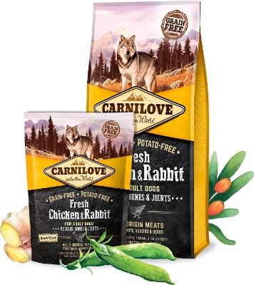 ΗFresh Carnilove τροφη σκυλων με Φρεσκο κοτοπουλο & κουνελι - υποστηριξη οστών αρθρωσεων και μυων