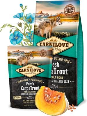 Carnilove Fresh τροφες για σκυλους με Φρεσκο κρεας Κυπρίνου & Πέστροφα - για λαμπερο τριχωμα και υγιες δερμα