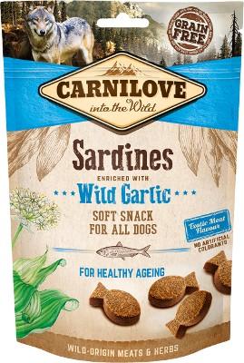 Οι Carnilove μαλακες λιχουδιες για σκυλους Grain Free σνακ σαρδελα με σκορδο φρεσκο κρεας για υγιη γηρανση