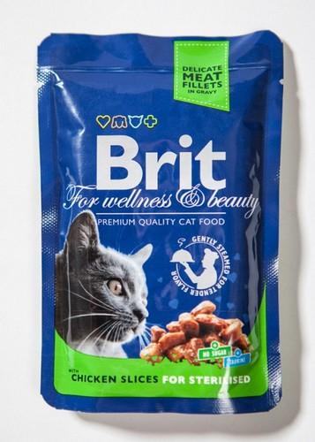 Η Brit Premium pouches sterilised φακελακια υγρη τροφη για στειρωμενη γατα με κοτοπουλο