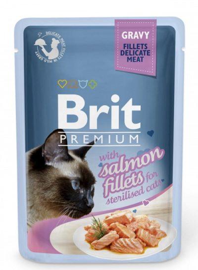 Brit Premium pouches sterilised φακελακια υγρη τροφη για στειρωμενες γατες με σολομο