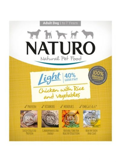 Η Naturo Light Chicken κονσερβα για σκυλους σε ταψακι κοτοπουλο και ρυζι
