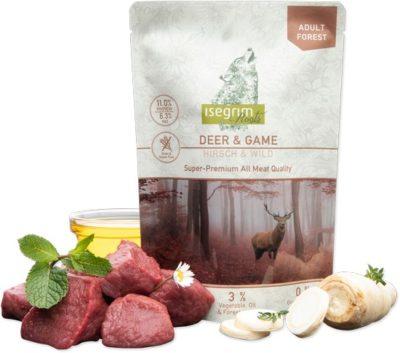 Isegrim Deer + Game Pouch υγρη τροφη σκυλου κονσερβα Gluten Grain Free με ελαφι & κυνηγι