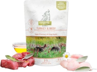 Isegrim Junior Pouch υγρη τροφη για κουταβια κονσερβα με γαλοπουλα & μοσχαρι Grain Gluten Free