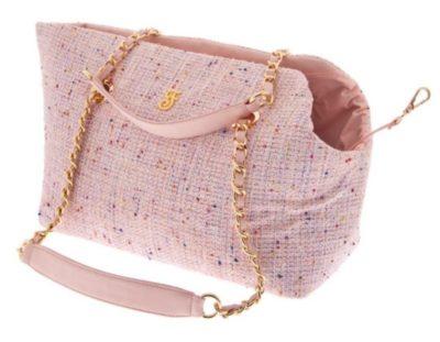Ferribiella Tweed Luxury Pink γατας τσαντα μεταφορας για σκυλο