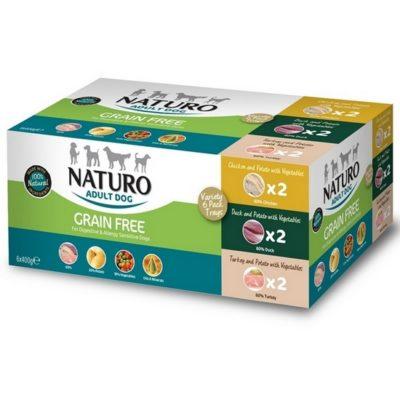 Naturo πολυσυσκευασια grain free κονσερβες για σκυλους σε ταψακι 6 Χ 400gr