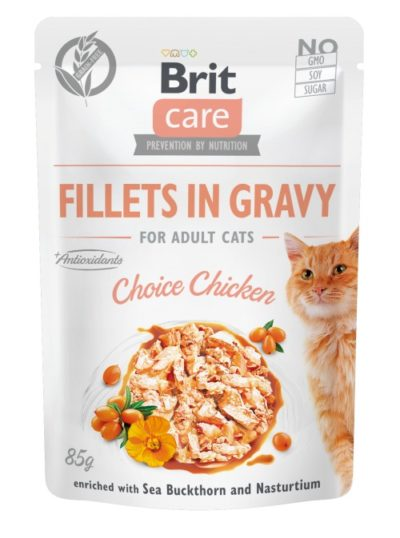 Brit Care Chicken Fillet υγρη τροφη γατας κοτοπουλο Ιπποφαες & Νεροκαρδαμο σε ζωμό