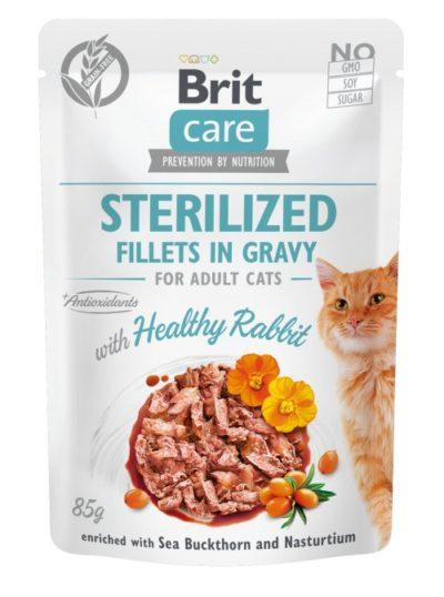 Brit Care Rabbit Fillet υγρη τροφη για στειρωμενη γατα κουνελι Ιπποφαες & Νεροκαρδαμο σε ζωμό