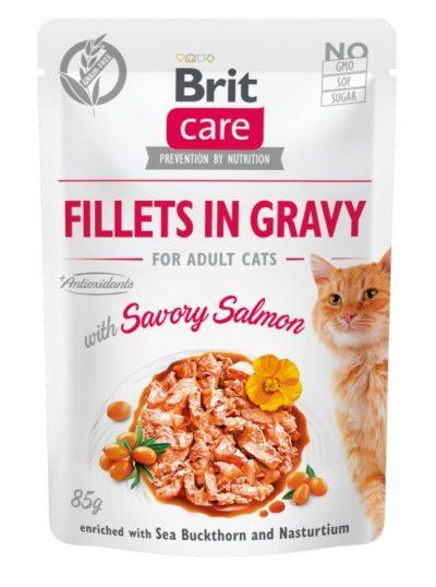 Brit Care Salmon Fillet κονσερβα με σολομο γατας με Ιπποφαες & Νεροκαρδαμο σε ζωμό