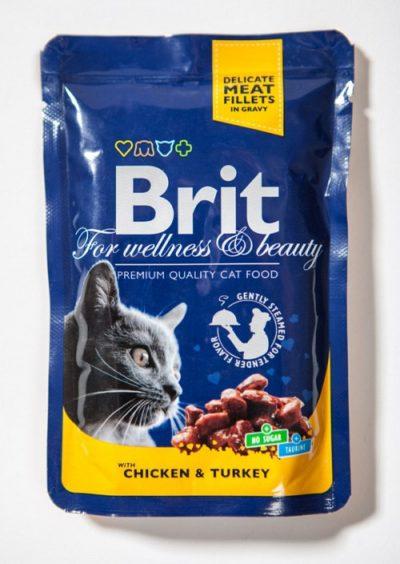 Brit Premium pouches Chicken Turkey φακελακια υγρη τροφη γατας κοτοπουλο γαλοπουλα