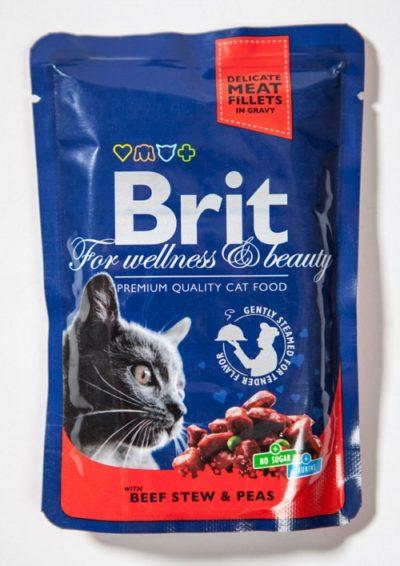Brit Premium pouches Beef φακελακια γατας υγρη τροφη μοσχαρι