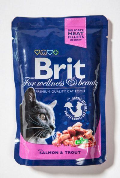 Brit Premium pouches Salmon Trout φακελακια υγρες τροφες για γατες σολομος πεστροφα