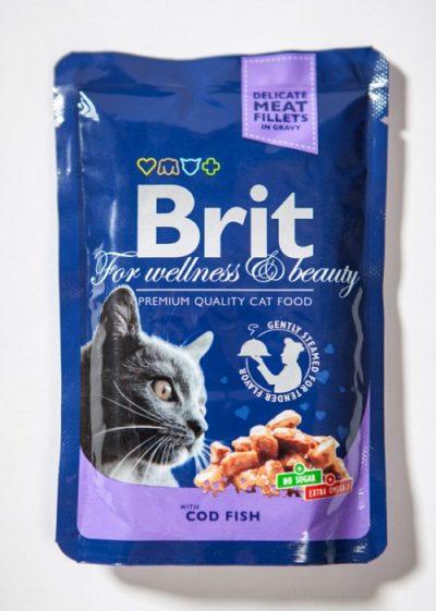 Brit Premium pouches Cod Fish φακελακια υγρες τροφες γατας μπακαλιαρος