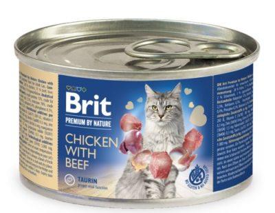 Η Brit Premium Beef κονσερβα πατε υψηλης ποιοτητας για ενηλικες γατες με γευση κοτοπουλου και μοσχαριου.