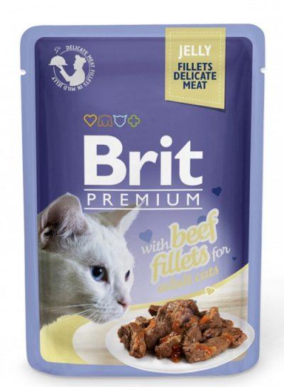 Brit Premium pouches Jelly Beef φακελακι γατας υγρη τροφη μοσχαρι σε ζελε