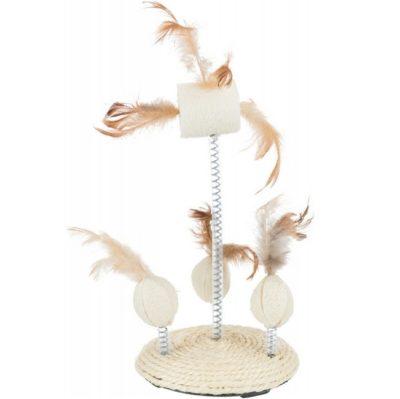 Παιχνιδι γατας με ελατηριο Trixie Loofah απο σχοινι με παιχνιδια με φτερα