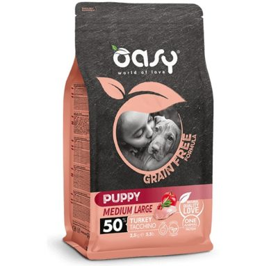 Oasy Grain Free Puppy Medium Large κουταβιου μεσαιας μεγαλης φυλης τροφη με γαλοπουλα